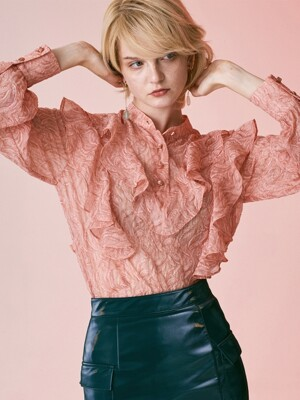 SEE-THROUGH FRILL BLOUSE_PINK