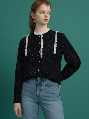 monts 1073 wrinkle frill dot blouse (navy)