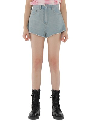 C CUT OFF DENIM SHORTS_SKY BLUE