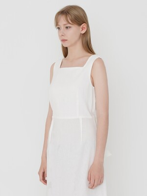 LS LINEN BACK RIBBON ONE-PIECE_IVORY