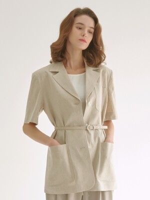 half sleeve linen blended jacket - oatmeal