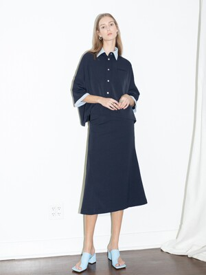 [20SS] HERMOSA oversized short sleeve shirt  (Navy,conflower blue)