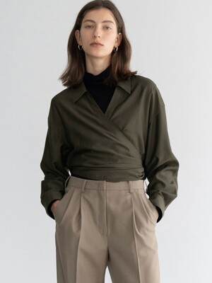 DRAPED WRAP SHIRT (BROWN)