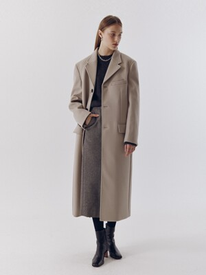 UNISEX 2-WAY 3 BUTTON CASHMERE COAT MOCHA BEIGE_UDCO0F111I1