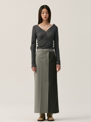PANELLED STRAIGHT LONG SKIRT, GRAY