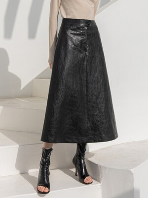 A-Line Eco leather Long Skirt