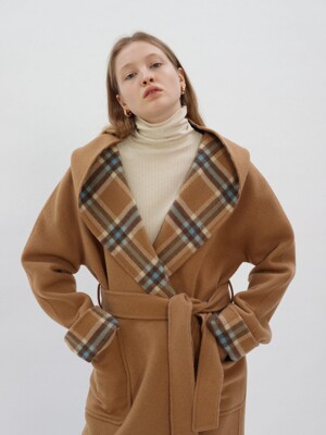Reversible Hood Hand-made Coat_Camel&Blue Check