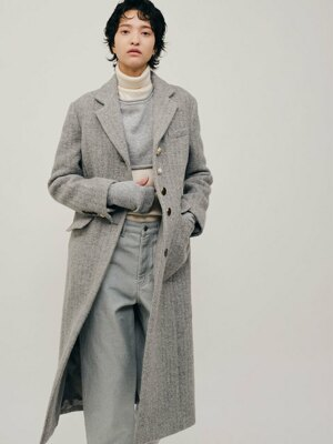 Wannabe herringbone long coat melange gray