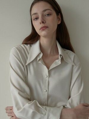 OU543 big collar wool shirts (cream)