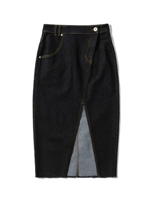 FRONT CUT DENIM LONG SKIRT [BLACK]