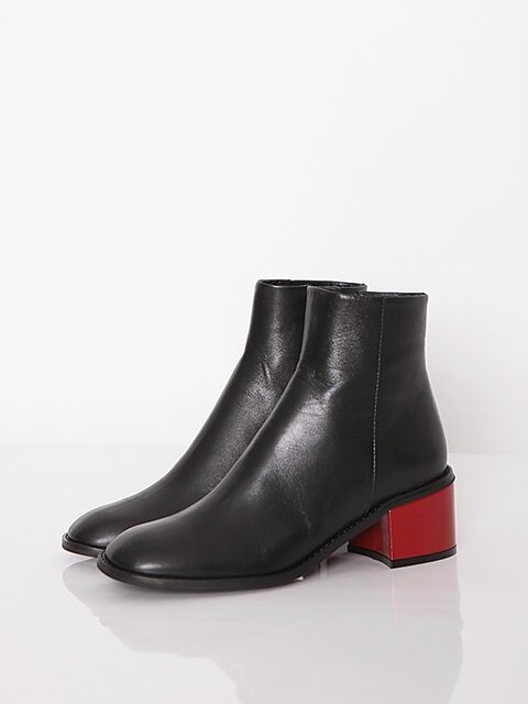 BACK POINT SQUARE BOOTS - BLACK + RED_5cm