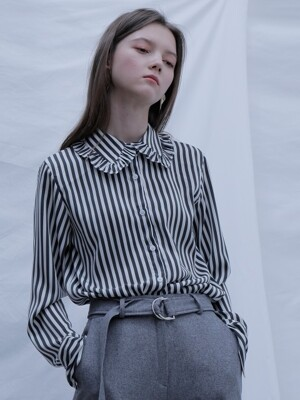 RUFFLE COLLAR SHIRTS GREY