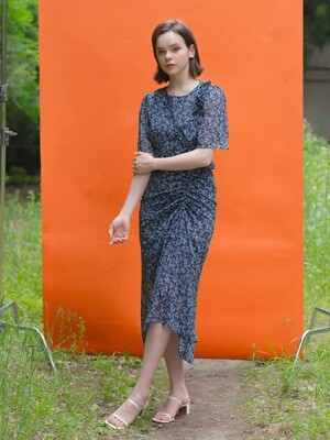 Flower Shirring Dress Navy