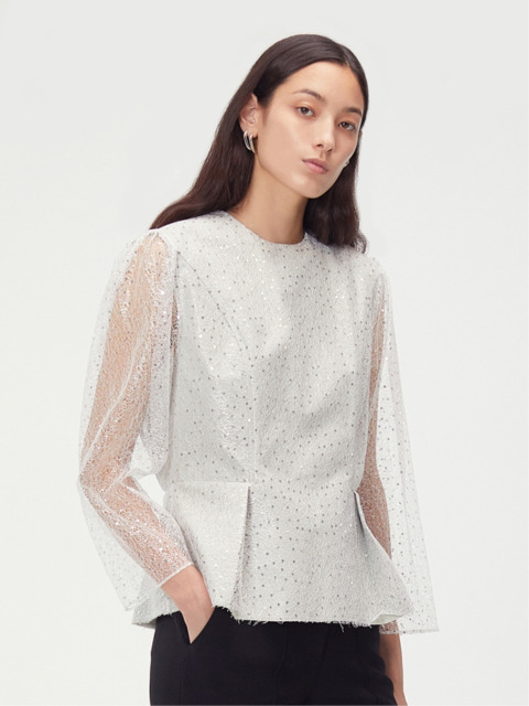 SEQUINED TULLE OVERLAY TOP (SILVER)