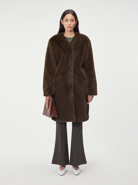 DETACHABLE COLLAR FAUX-FUR COAT (KHAKI)