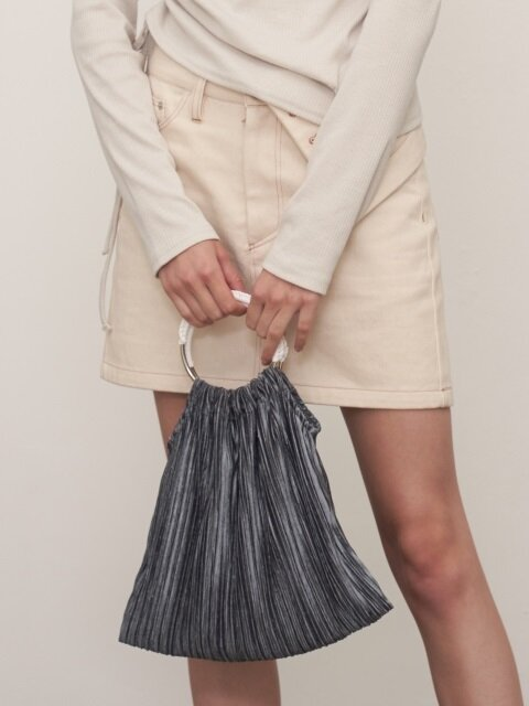 MH7 VELVET PLEATS BAG_GY