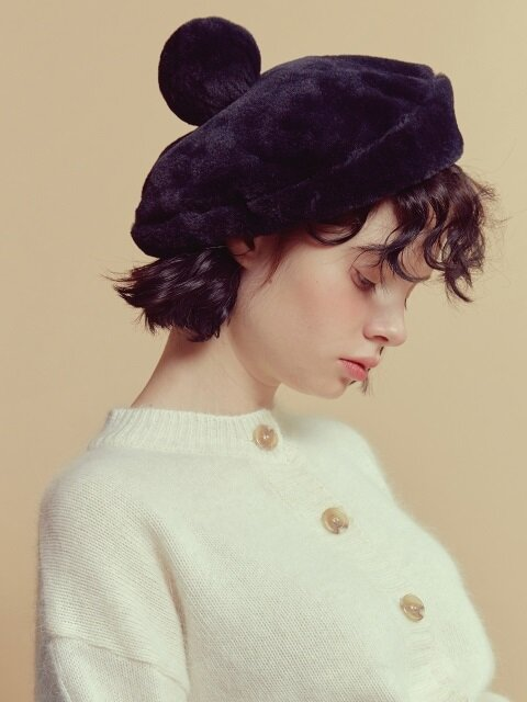 2WAY POMPOM FUR BERET_navy