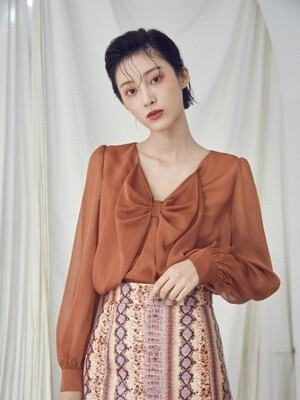 Ribbon blouse [Copper brown]