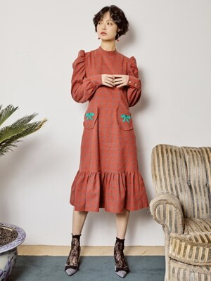 RIBBON POINT DRESS _ RED