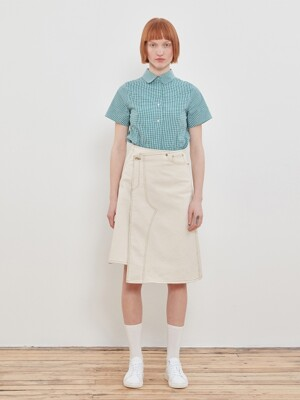 Denim Wrap Skirt [Ivory]