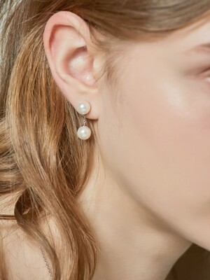 ES9203 Chain pearl short `drop` earring