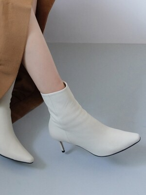 All ivory slim line ankle boots
