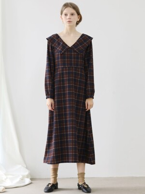 4.13 CHECK DRESS_NAVY