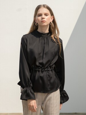 High Neck String Blouse Black