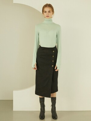 P Button Wrap Skirt_BK
