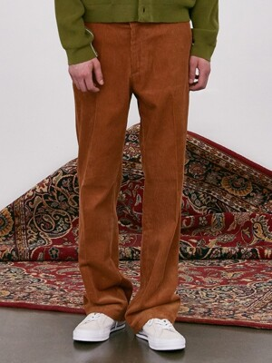 V288 JACOB CORDUROY WIDE PANTS-(BROWN)