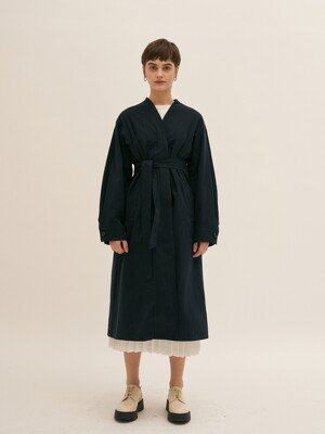 Collarless Trench Coat - Navy