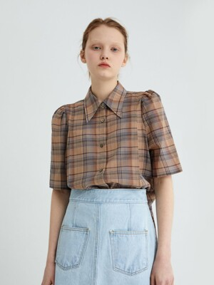 20' SPRING_Beige Check Blouse