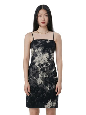 C TIE DYE MIDI DRESS_BLACK