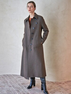 CURVED COAT_SADDLE BROWN