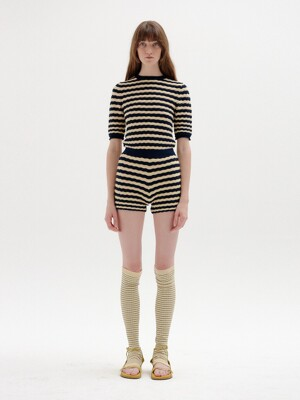 SIES Textured Knit Shorts - Beige/Navy Stripe