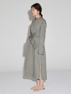 wide belted long dress _ khaki grey