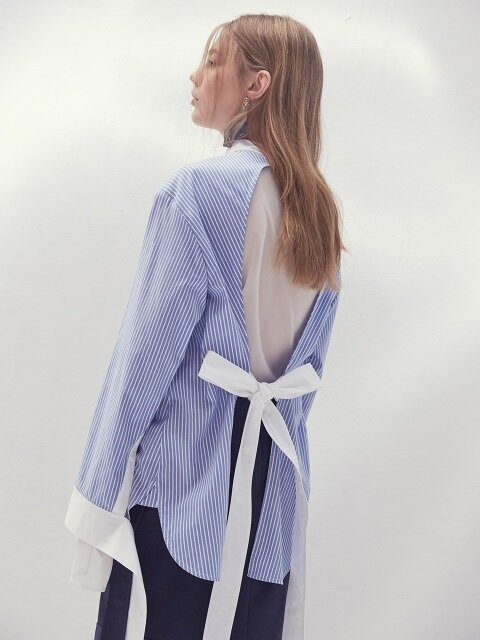 17SS STRIPED BACKLESS COTTON SHIRT(SKYBLUE)