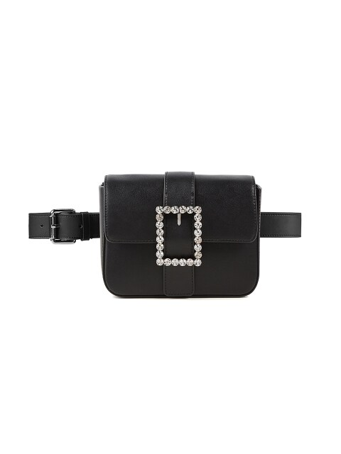 Lady embellished Belt Bag_Black Leather