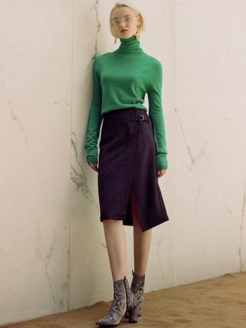 ASYMMETRIC WOOL SKIRT apa253w(GREEN CHECK)