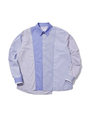 stripe pattern & solid combi blue shirt