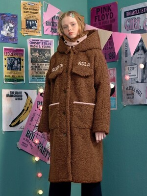 (CT-18704) BOUCLE LONG COAT BROWN