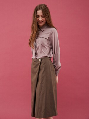 One button Skirt  [KHAKI]