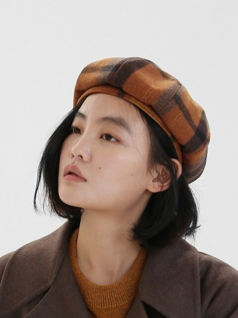 [단독]BREAD BERET / WOOL CHECK / PUMPKIN ORANGE