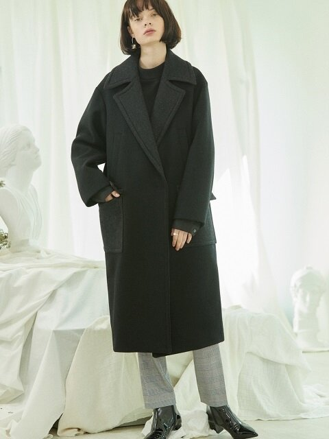 color block coat Black