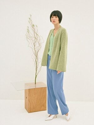 OLIVE ALPACA BLEND WOOL KNIT OUTER