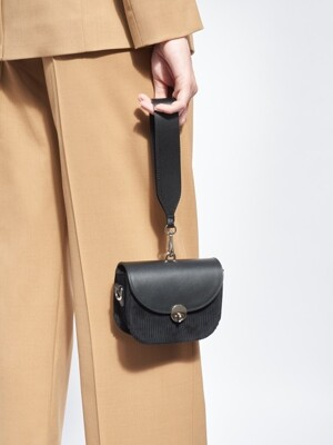 MINI SADDLE BAG - CORDROY BLACK