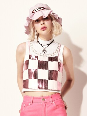 VVV PINK CHESS SEQUINSED SLEEVELESS TOP