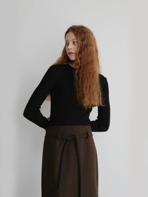 19' FALL_Rocky Road Herringbone Slit Skirt