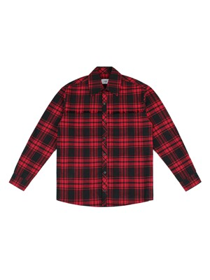 RAW CUT CHECK SHIRT (RED)