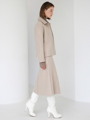 WOOL BLENDED MINIMAL JACKET - OATMEAL